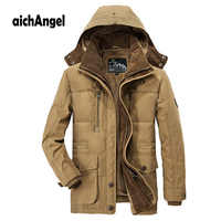 Winter Jacket Men Warm Coat Mens Parkas Zipper Stand Collar Jacket Plus Size Fleece Cotton-Padded Military Overcoat