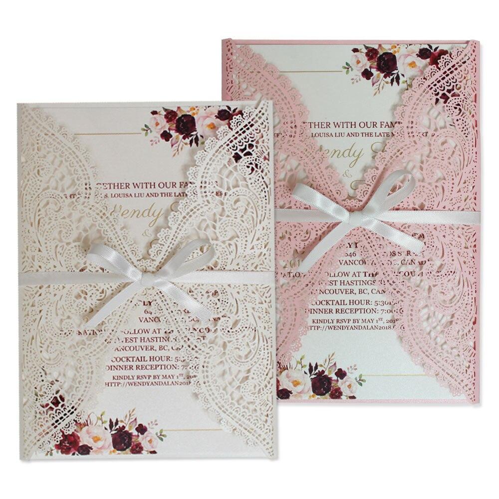 Elegant Lace Wedding Invitations Blank Or Customized