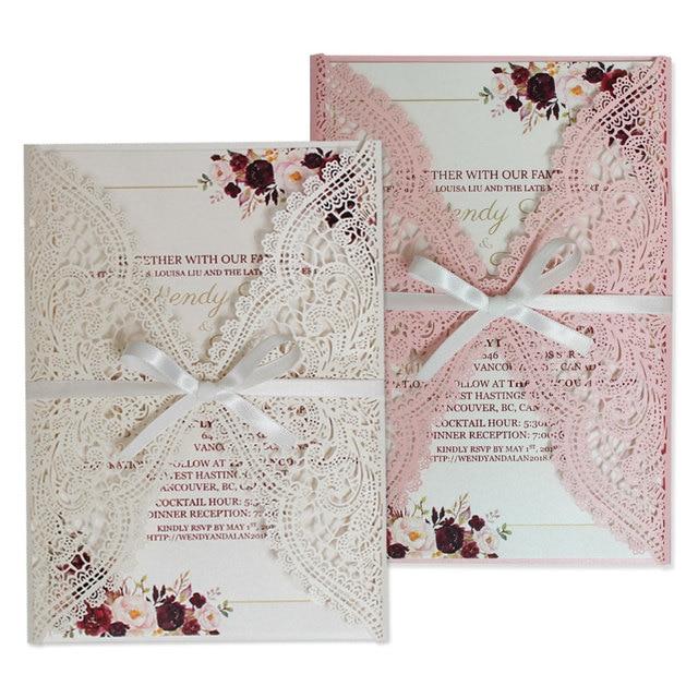Elegant Lace Wedding Invitations Blank or Customized Invitation