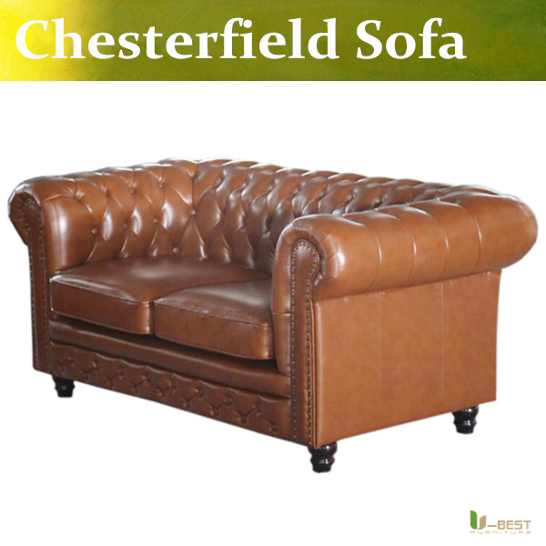 U-BEST high quality Chesterfield 2 seater Sofa,Designer chesterfield sofa,  leather loveseat sofa, living room furniture u best brown leather vintage chesterfield sofa antique 60s 70s retro era leather 3 seater sofa