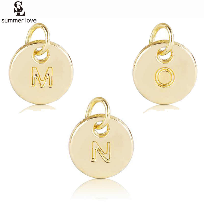20PCS A-Z Initial Letter Alphabet Charms for Bracelet Necklace DIY Jewelry Making Small Round Rose Gold Disc Charm Alloy Pendant