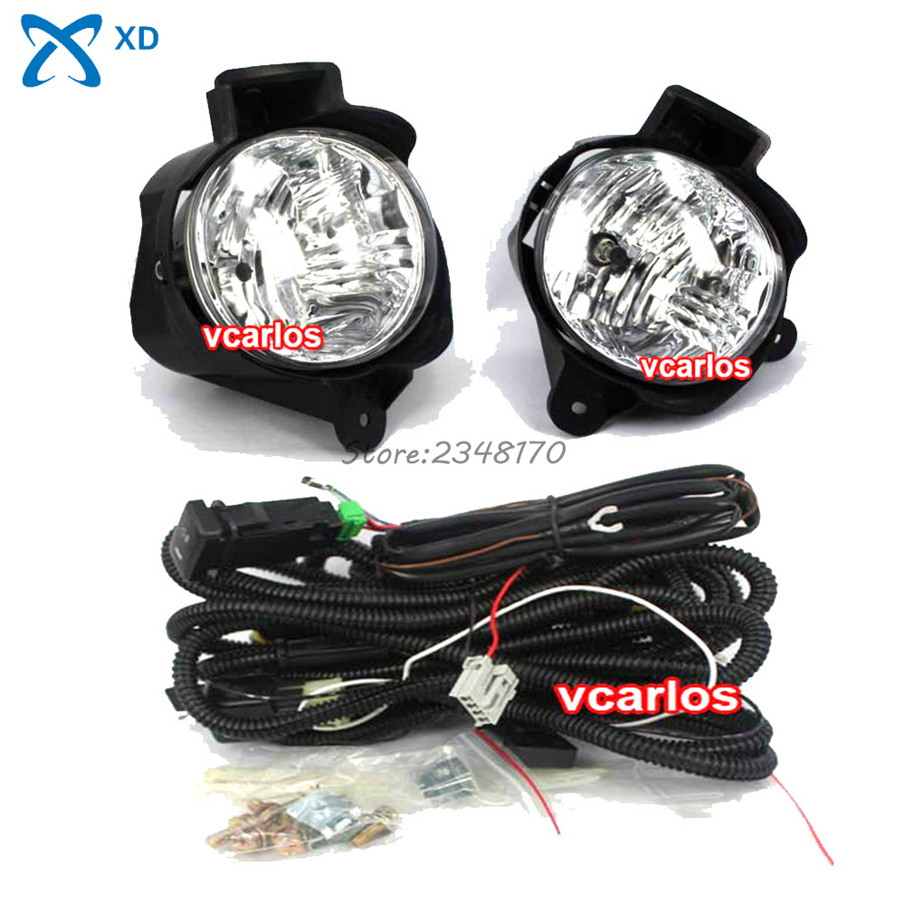 Fog light set Fog Lights Lamps For TOYOTA Hilux Vigo 2012 ~ ON Clear Lens PAIR SET + Wiring Kit Free Shipping fit for 02 08 toyota solara camry corolla oe fog light smoke lamps wiring kit included usa domestic free shipping hot selling