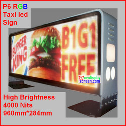 fullcolor outdoor taxi led screen,high clear,high brightness 5000 nits,960mm*384mm taxi sign,160*96 pixel,4g internet controller