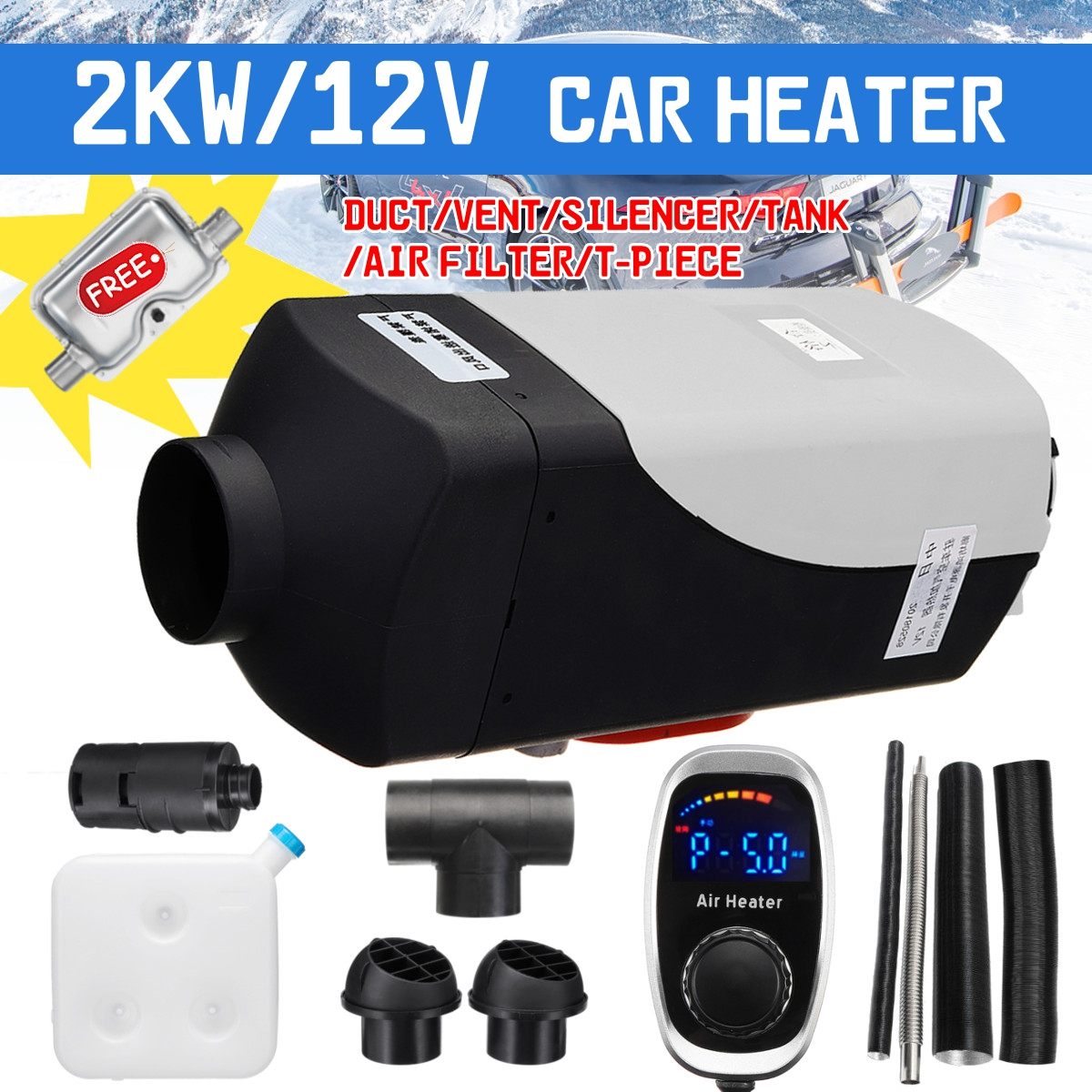 New 12V 2000W Air diesels Fuel Heater Single Hole 2KW For Boats Bus Car Heater Remote Control Digital knob Switch With Silencer 1pc seeyule car a c heater control panel 09092003n air conditioner temperature switch knob 71207001861 for peugeot 405 samand