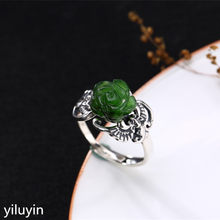 KJJEAXCMY Boutique jewelry S925 Sterling Silver Antique inlaid and jade jade bats Rose Opening female ring