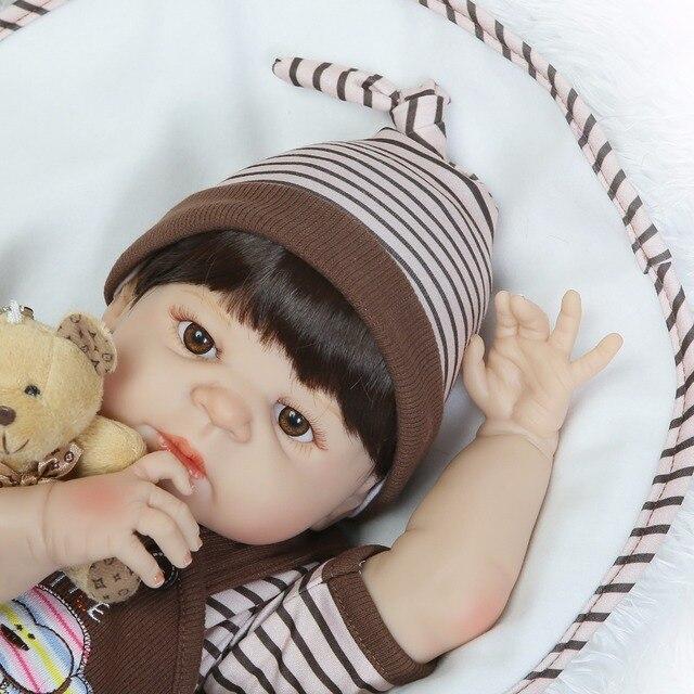 Full Silicone Reborn Baby Boy Dolls Toy Playmate Lifelike Toy 4