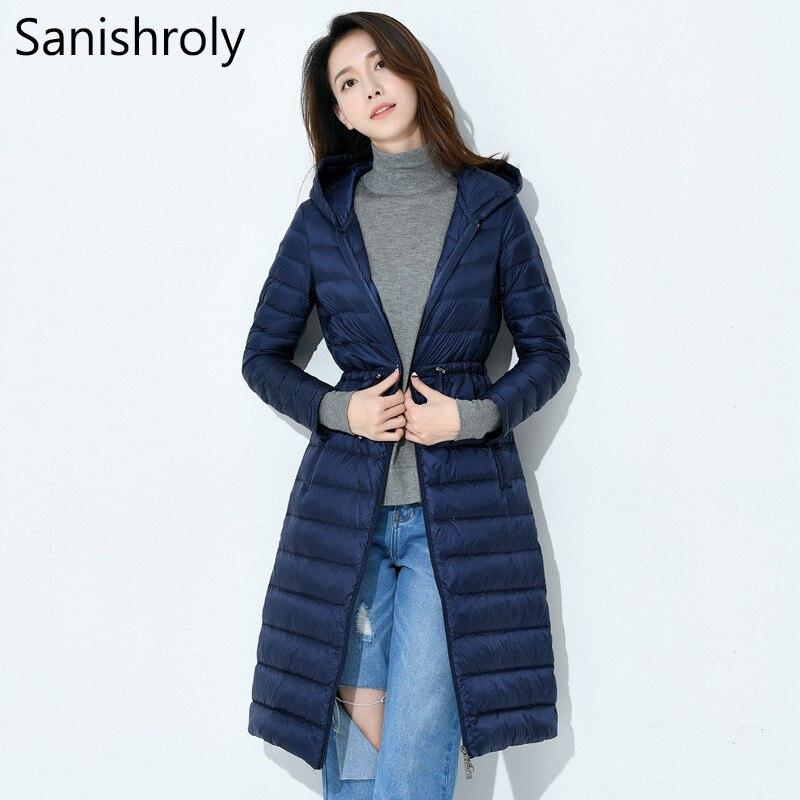 Sanishroly 2018 Women White Duck   Down   Jacket Tops Slim Ultra Light   Down     Coat   Parka Female Long Hooded Outerwear Plus Size S298