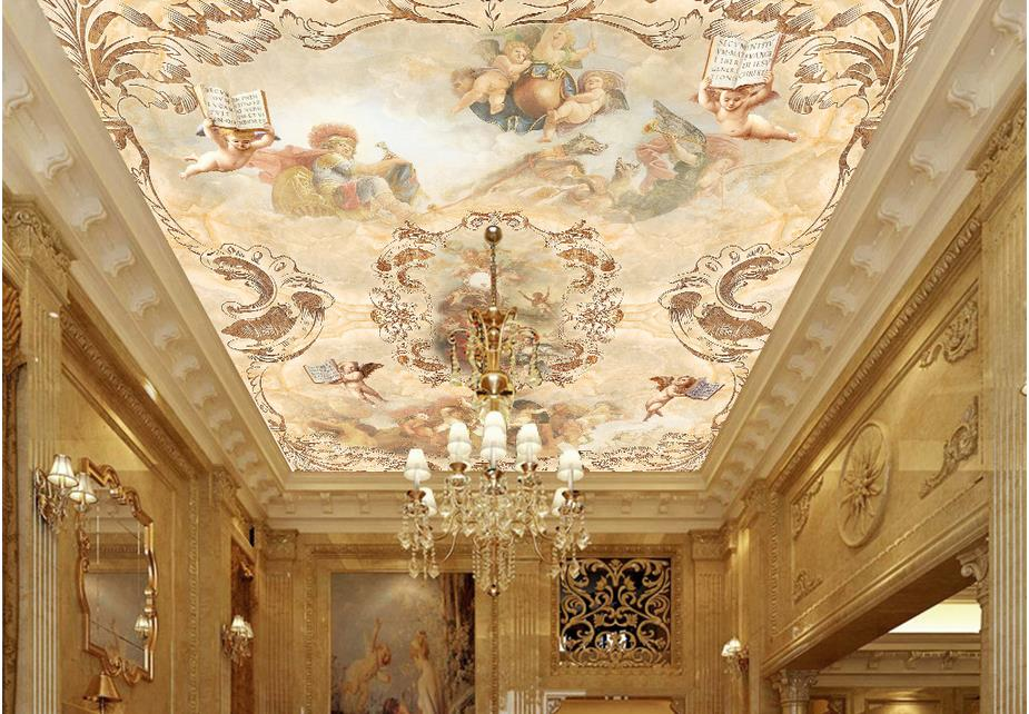 Custom 3d wallpaper mural ceiling Angels Paradise 3D stereoscopic ceiling photo wallpaper for living room non-woven 3d ceiling custom photo wallpaper 3d stereoscopic sky ceiling cloud wallpapers for living room mural 3d wallpaper ceiling