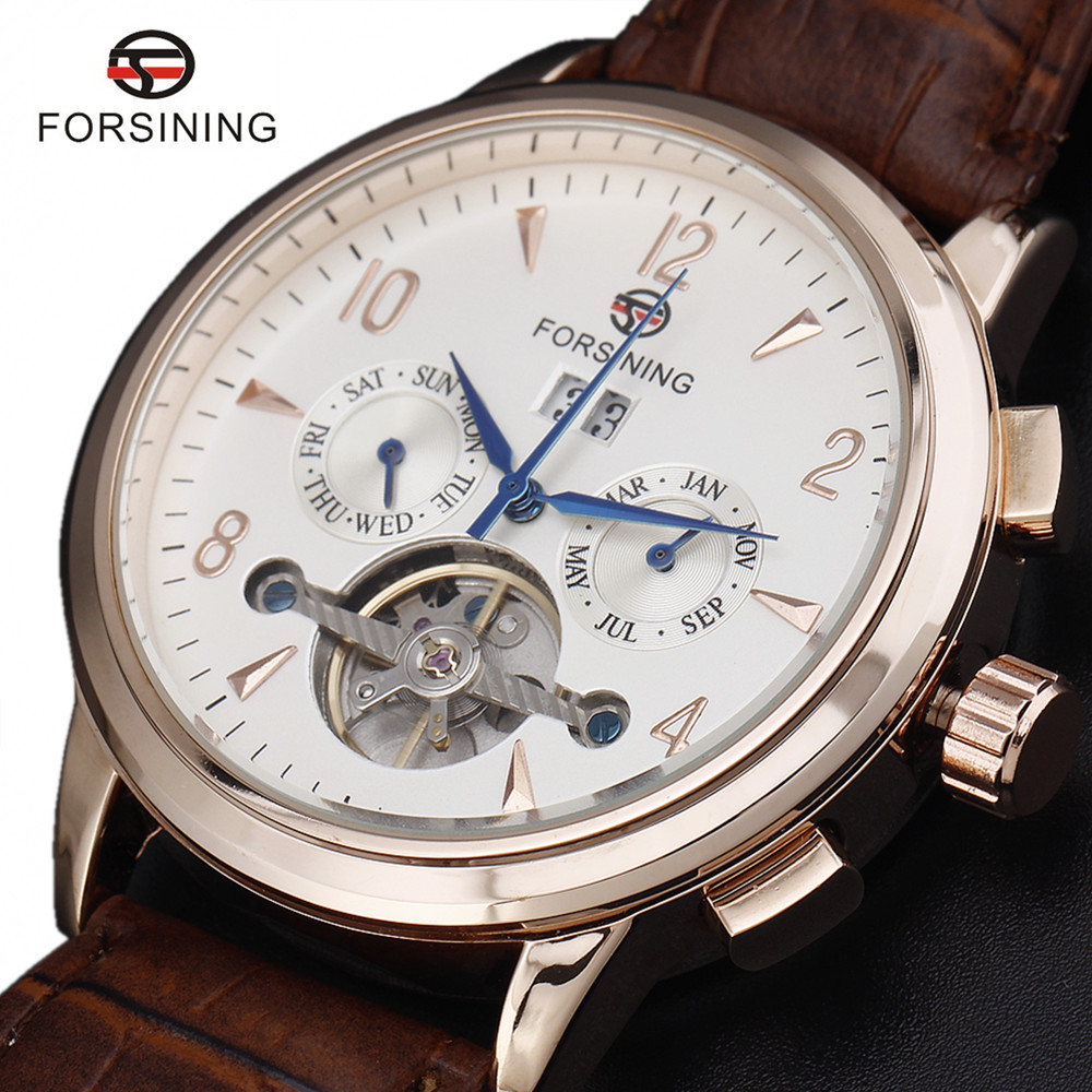 New Fashion Luxury Brand FORSINING Rose Gold Men Watch Automatic Mechanical Watches Hollow Men Tourbillon Mechanical Watch Gift forsining multifunction tourbillon date day display rose golden watch men luxury brand automatic watch fashion men sport watches