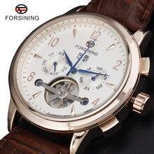 New Fashion Luxury Brand FORSINING Rose Gold Men Watch Automatic Mechanical Watches Hollow Men Tourbillon Mechanical Watch Gift