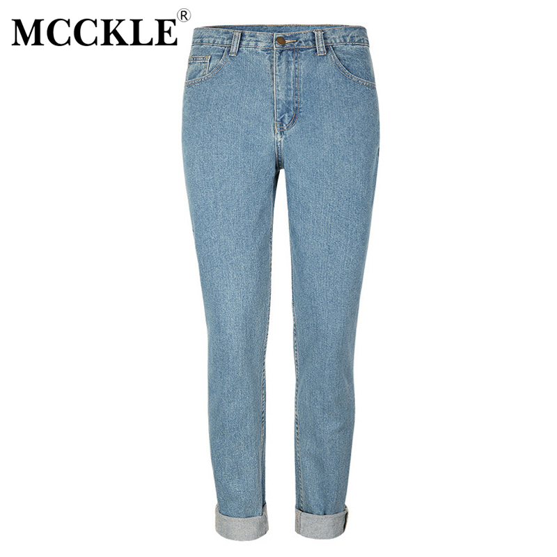 MCCKLE Women's High Waist Denim Jeans Boyfriend Style Light Blue Pants Trousers Jean Femme Women Vintage Washed Jeans Plus Size fashion women high waist blue jeans denim pants boyfriend jean femme jeans trousers plus size s 2xl
