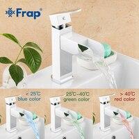 Frap Basin Faucet Led Temperature Sensor Water Tap Bathroom Mixer Deck Mounted Basin Sink Mixer Tap grifo lavabo FLD3919
