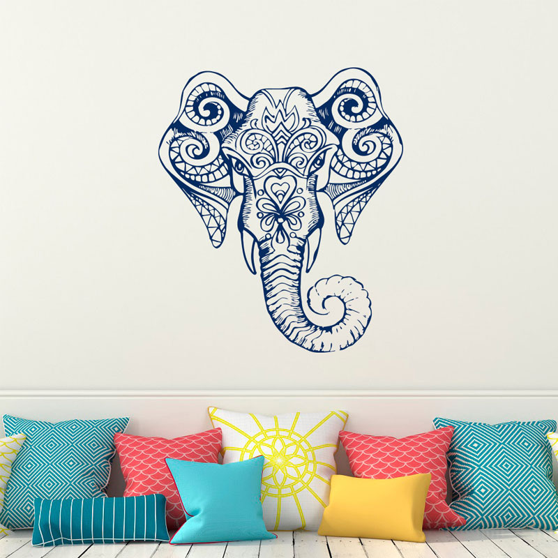 Large Size Indian Yoga Elephant Bohemian Design Wall Sticker Vinyl Home Decor Living Room Bedroom Decals Interior Murals YD83 in Wall Stickers from Home Garden