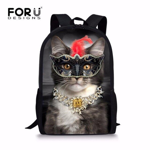 FORUDESIGNS Unique Elementary Girls Cat Backpack for School Personalized  Junior Student Kids Daypack Custom Children Bagpack c892d91c65117