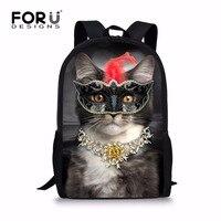 FORUDESIGNS Unique Elementary Girls Cat Backpack For School Personalized Junior Student Kids Daypack Custom Children Bagpack