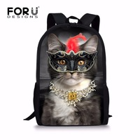 FORUDESIGNS Unique Elementary Girls Cat Backpack For School Personalized Junior Student Kids Daypack Custom Children Bagpack
