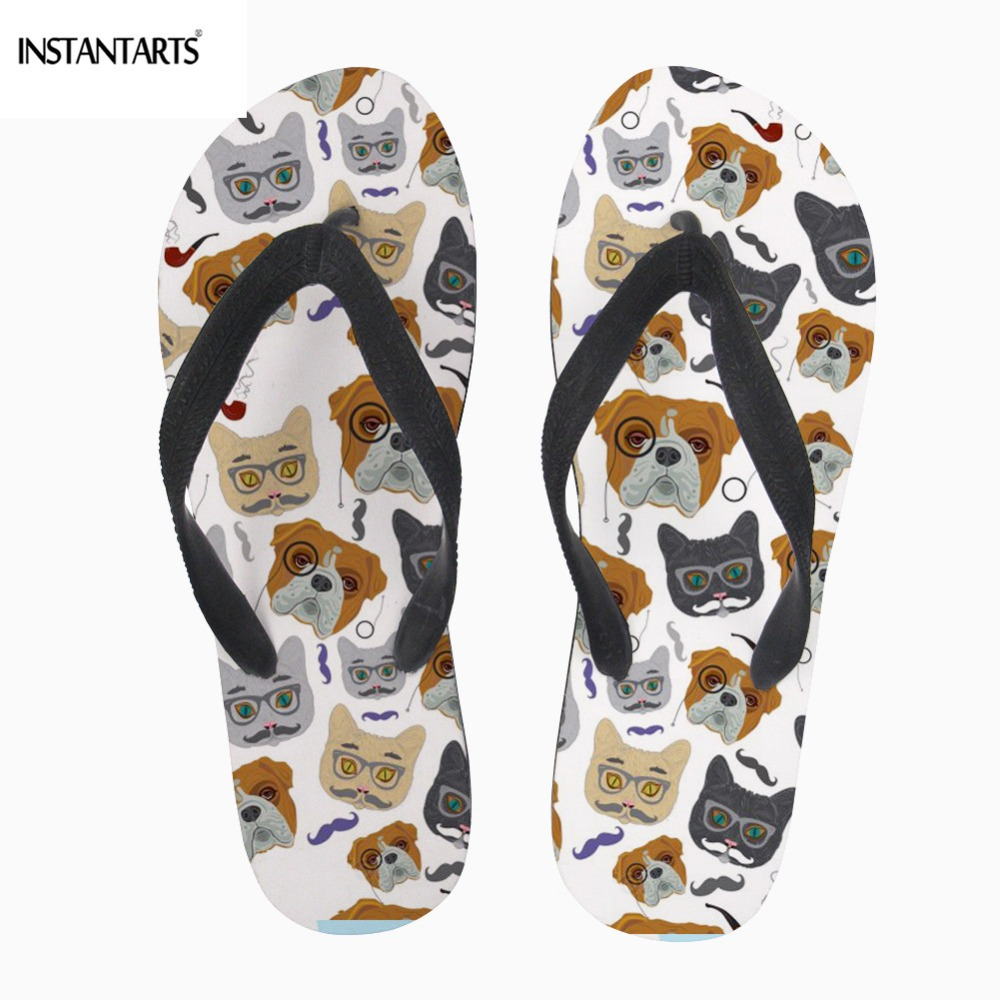 INSTANTARTS Cartoon Cute Bull Dog Pattern Men Flip Flop Summer Casual Outdoor Beach Flat Shoes Fashion Brand Slippers Designer image