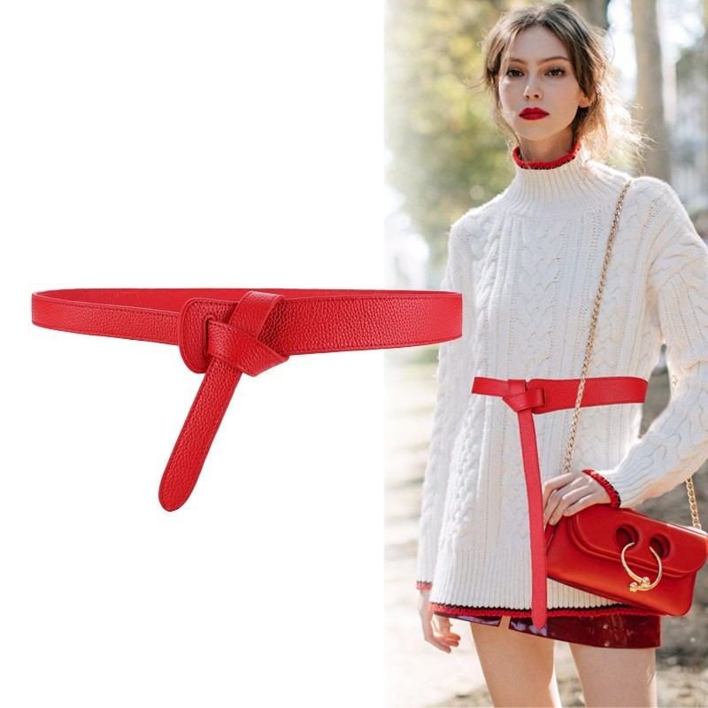 HTB1S3OOB2uSBuNkHFqDq6xfhVXaA - Luxury Female Belt for Women red Bow design Thin PU Leather Jeans Girdles Loop strap belts bownot brown dress coat accessories