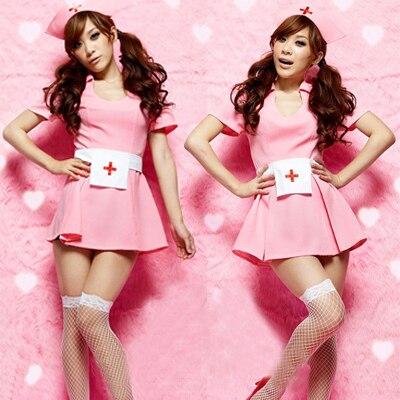 Pink Cute Nurse Costume cosplay Erotic Long doctor womens underwear Exotic Dress