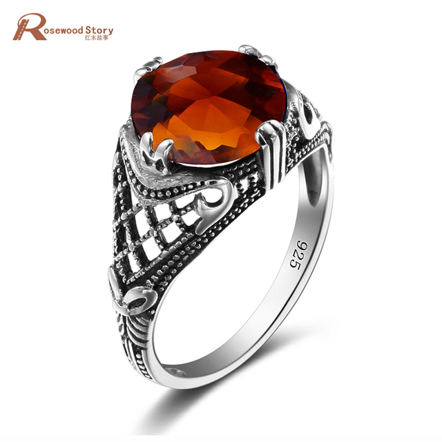 High Quality Usa Skull Rings For Women Charm Brown Amber Stone Handmade 925 Sterling Silver Tail