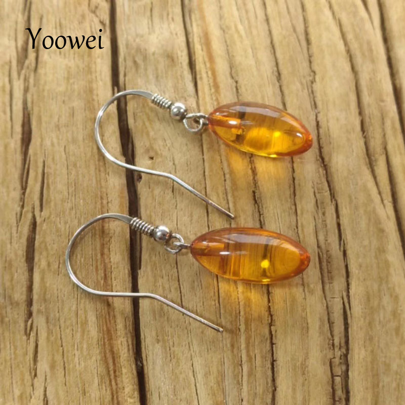 Yoowei nouvelles boucles d'oreilles en ambre pour femmes petit cadeau Original boucles d'oreilles pendantes en vrac bijoux en pierre d'ambre de la baltique naturelle en gros