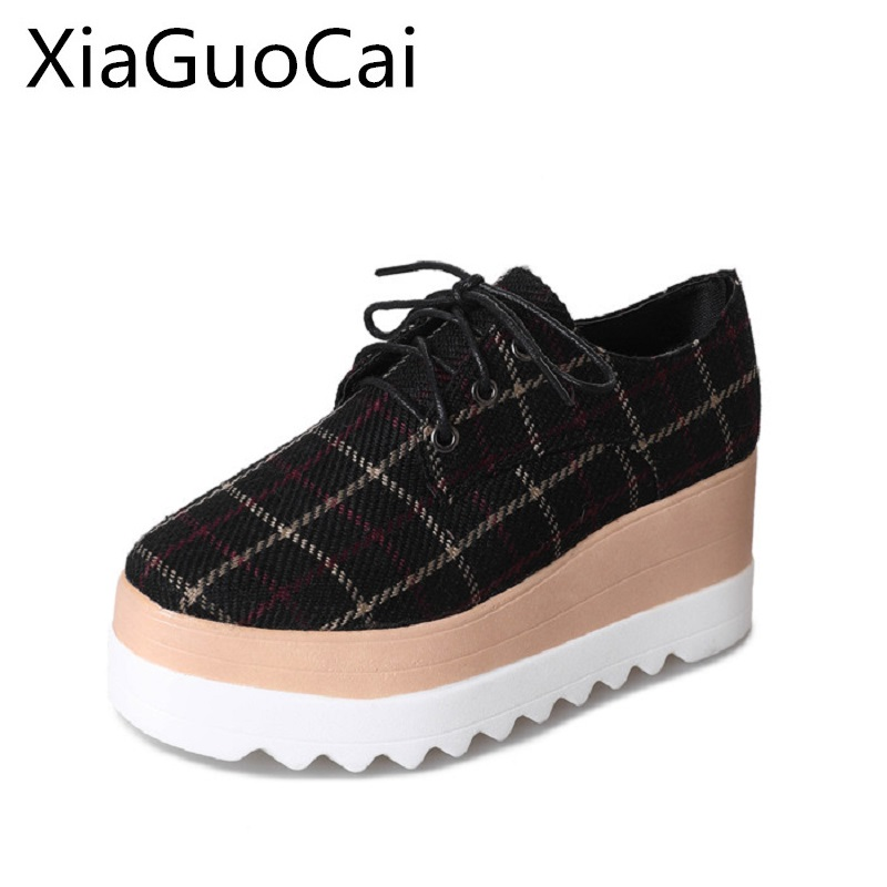 Hot Sale Platform Woman's Casual Shoes Spring Canvas Shoes Lace-up Gingham Flat Platform Creepers for Ladies hot sale cayler