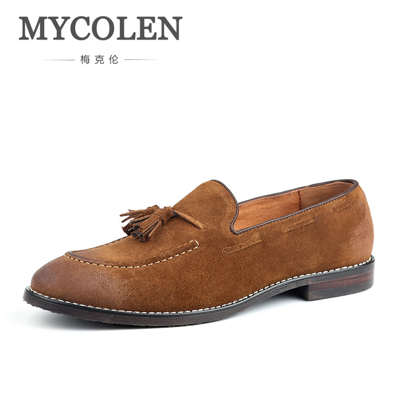 MYCOLEN Brand Casual Shoes Men Loafers Spring And Autumn Mens Moccasins Shoes Genuine Leather Men'S Flats Shoes Soulier Homme mycolen spring autumn men loafers genuine leather casual men shoes fashion crocodile pattern driving shoes moccasins flats