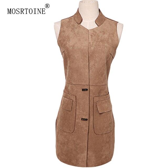 Women Leather Coat Vest Autumn Winter Women Suede Leather Fur Vest Jacket Lady Covered Button Vintage Solid Fashion Coat 2016