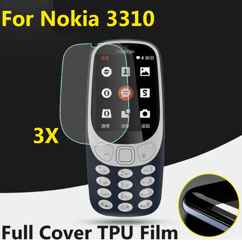 3pcs/lot Full Cover Screen Protectors Guard TPU Soft Explosion-Proof Protective Films For Nokia 3310 2017 New Mobile LCD Shield