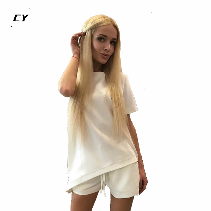 Casual Women Sets Clothes 2 Pieces Top T-shirt and Shorts Summer Women Sets Fashion Soild Color Women Suit