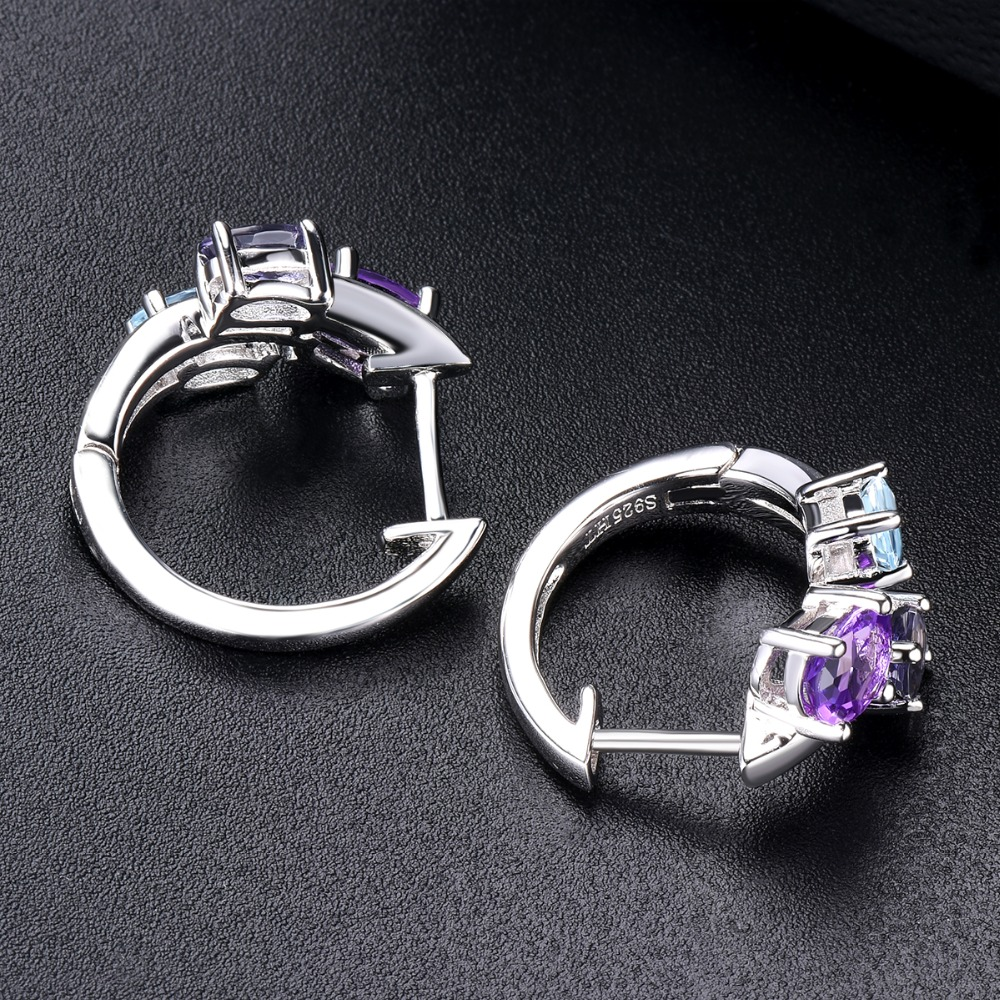 Natural gemstones Aquamarine and Amethyst beads sterling silver earrings