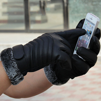 Washable Leater Material Touch Screen Motorcycle Gloves Full Finger Men Women Winter Protect Hands Moto Cycling
