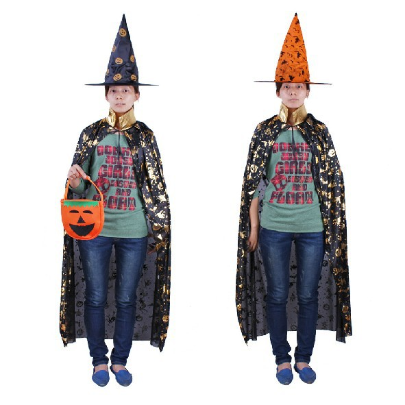 Halloween costume Adult pumpkin cloak stand neck party show performance princess men women cloak free size