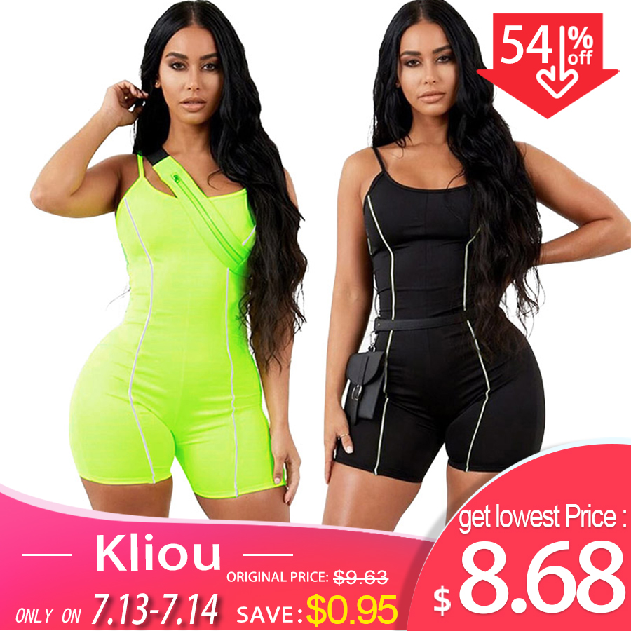 Kliou 2019 women sexy strapless playsuit neon color skinny bodysuit Reflective