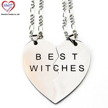 Collier pendentif des meilleurs sorcières en acier chirurgical, avec un beau cadeau pour les amoureux ou les amis, Showlove-2pcs