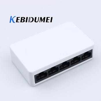 kebidumei Mini Network Switch 10/100Mbps 5 Port Fast Ethernet Switche Lan Hub Full/Half duplex Exchange EU/US Plug for Desktop