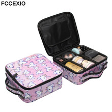 цена FCCEXIO New Cosmetic Bag Pink Unicorn Print Makeup Bag Travel Organizer Beauty Case Toiletry Bag Bath Wash Adjustable Makeup Box