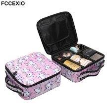 цена FCCEXIO New Cosmetic Bag Pink Unicorn Print Makeup Bag Travel Organizer Beauty Case Toiletry Bag Bath Wash Adjustable Makeup Box