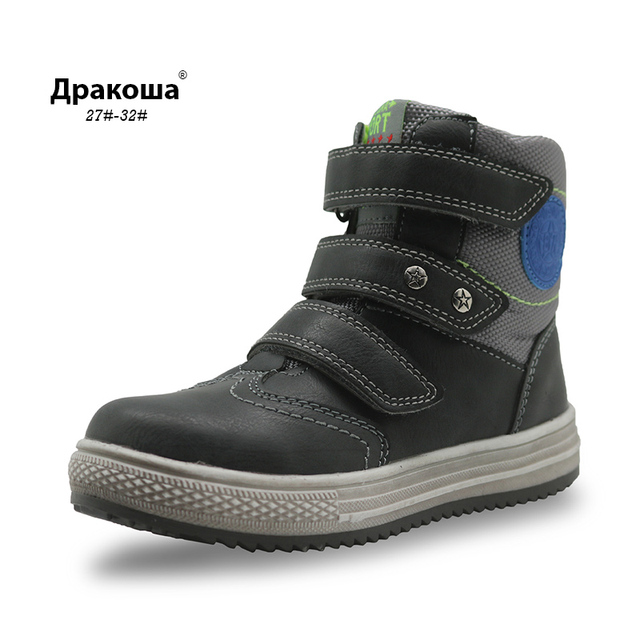 Apakowa Autumn Boys Boots Pu Leather Children s Shoes Arch Support Ankle  Boots for Kids New Fashion Solid Flat Child Shoes 030524d30b37