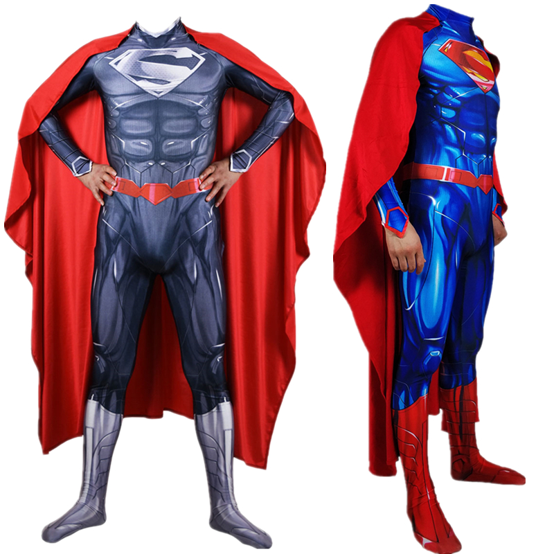 Adult Men Kids Superman Clark Kent Cosplay Costume Zentai Superhero Bodysuit Suit Jumpsuits Cloak
