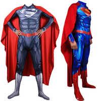Adultos hombres niños Superman clarkent juego de rol disfraz zentai traje de superhéroe monos capa