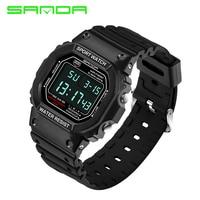 SANDA 329 디지털 시계 남성 방수 다이빙 LED 남성 시계 스포츠 남성 시계 최고 브랜드 밀리터리 relogio masculino Saat