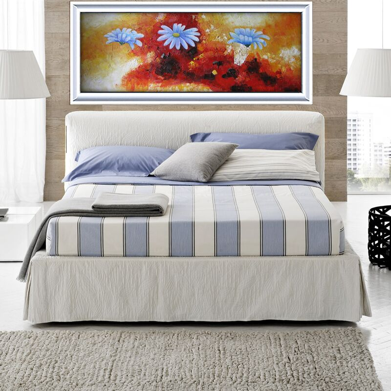 Beautiful Handpainted Abstract Oil Painting Art Blue Flower Paintings On Canvas Modern Picture Painting For Living Room Decor in Painting Calligraphy from Home Garden