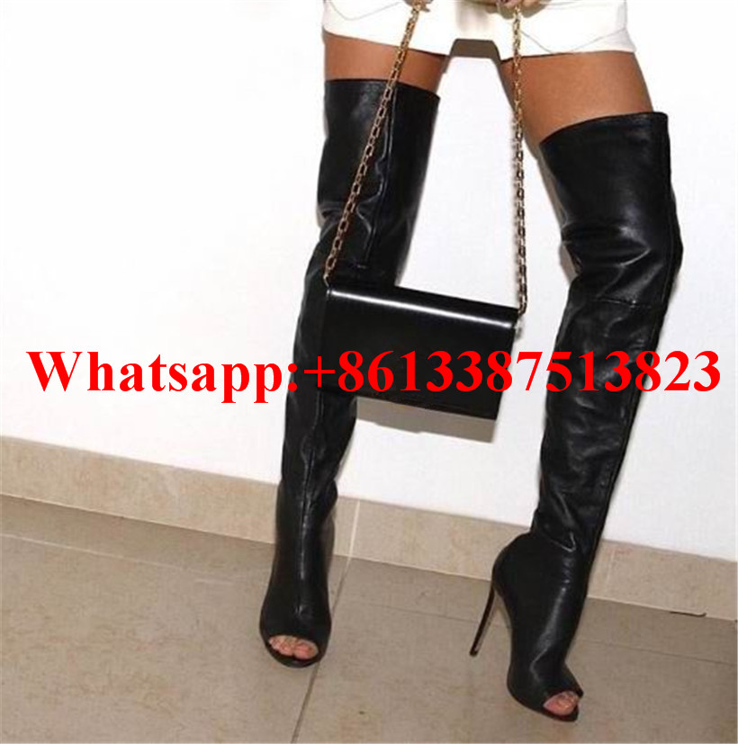 Hot Boots Women Sexy Black Thigh High Boots Peep Toe Soft Leather Back Zip High Heels Over The Knee Boots Gladiator Sandal Boots hot boots women sexy black thigh high boots peep toe soft leather back zip high heels over the knee boots gladiator sandal boots