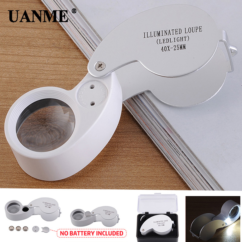 UANME Magnifying glass 40X 25mm Loupe Magnifier Triplet Jewelers Eye Glass Jewelry Diamond Worldwide store