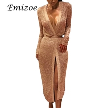 Emizoe 2018 shine knitted cardigan dress women party club sexy dress rose gold midi female vestidos open stitch bodycon dress