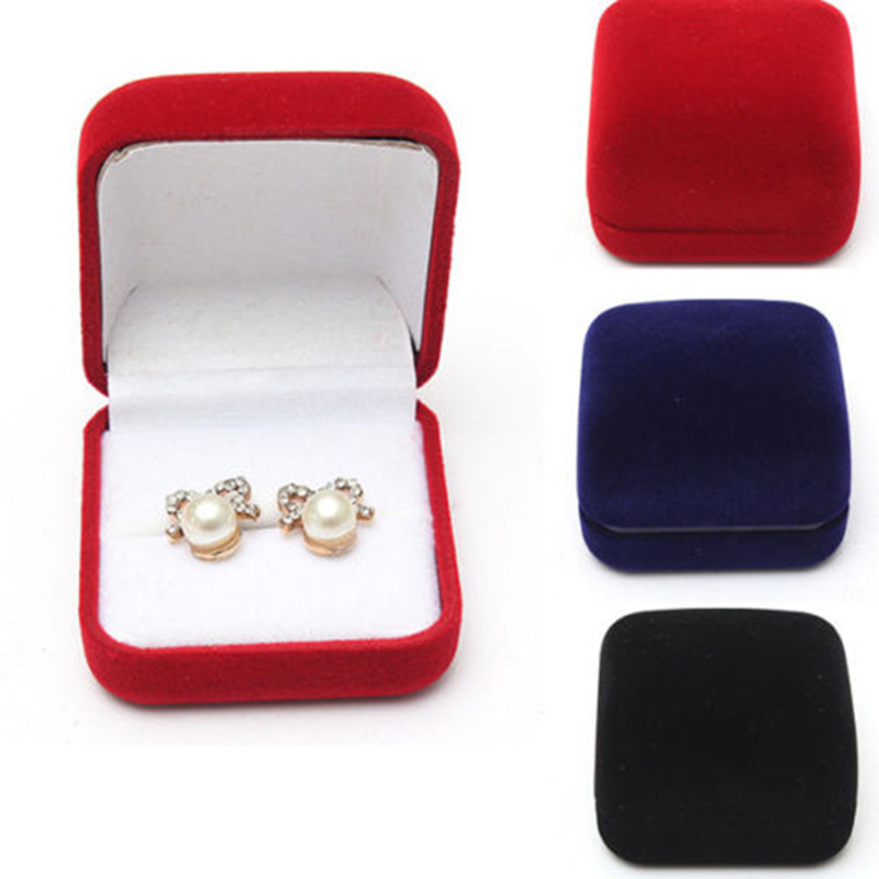 Black/Red/Blue Wedding Jewellery Velvet Earring Ring Storage Box Gift Packing Box For Jewelry Display Storage Foldable Case mini cute red carrying cases foldable red heart shaped ring box for rings lid open velvet display box jewelry packaging 1pcs hot