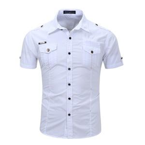 Image 4 - Chemise dété pour homme, 2019 coton solide, à la mode, décontracté, 100%, décontracté, chemise de grande taille