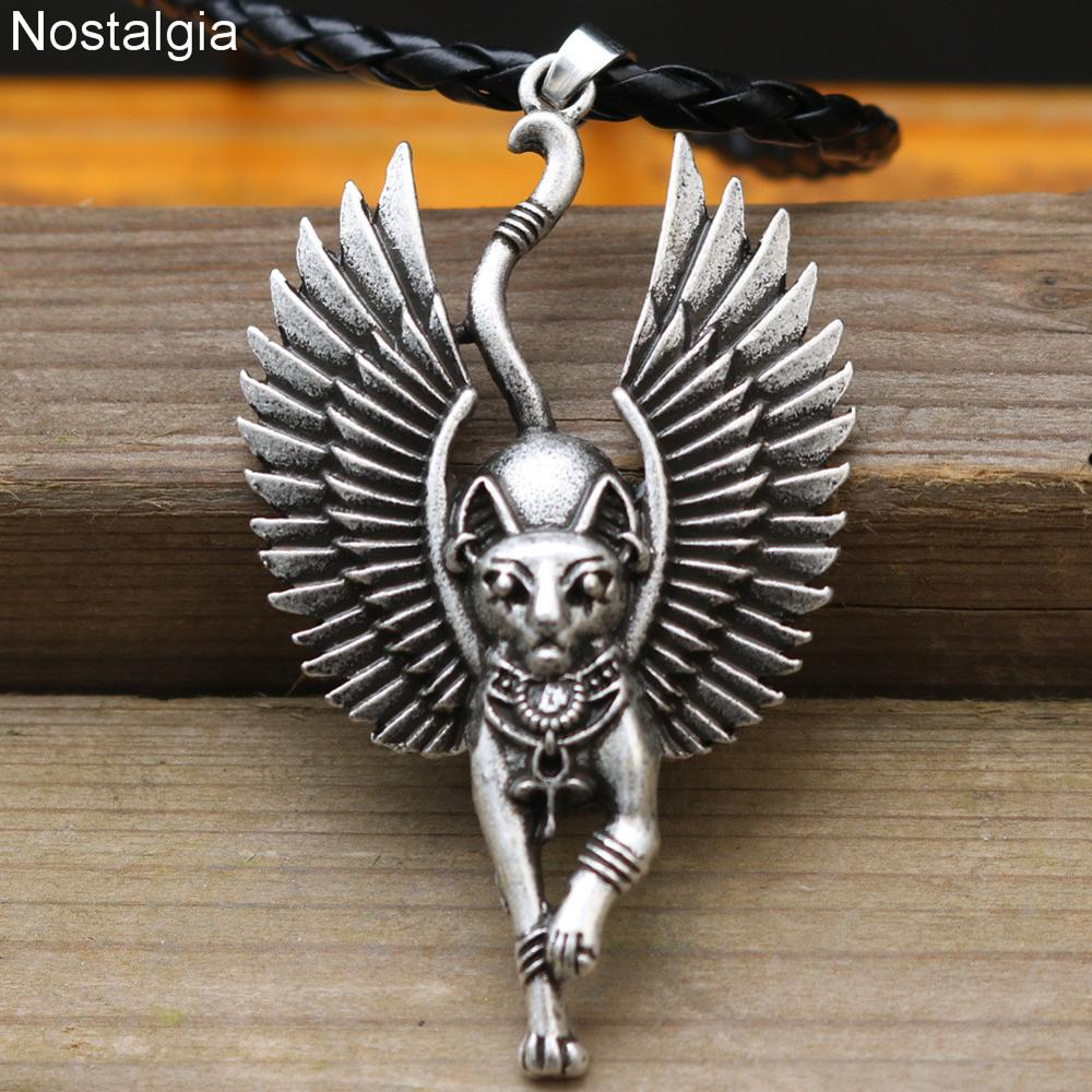 10pcs Egyptian Bastet Sphinx Jewelry Egypt Amulet And Talisman  Cat With Angel Wings Pendant NecklacePendant Necklaces