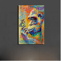 Hand Painte Oil Paintings Graffiti Street Art Monkey Gorrila Butterfly Wall Art Canvas Home Decor Colorful